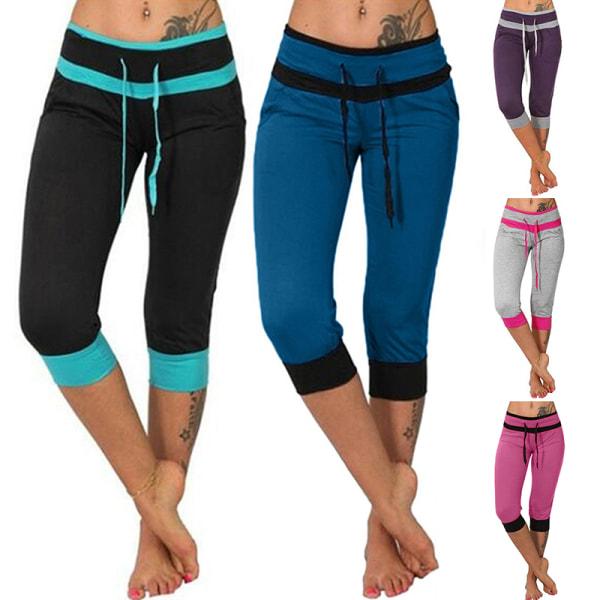Kvinnor Yoga Capri Slim Fit flare hög midja beskurna byxor Mörkblå 5XL