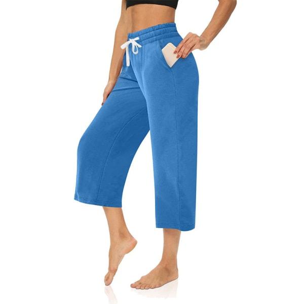 Kvinnor Mid Midja Yoga Byxor Casual Loose Sports Elastic Blå XL