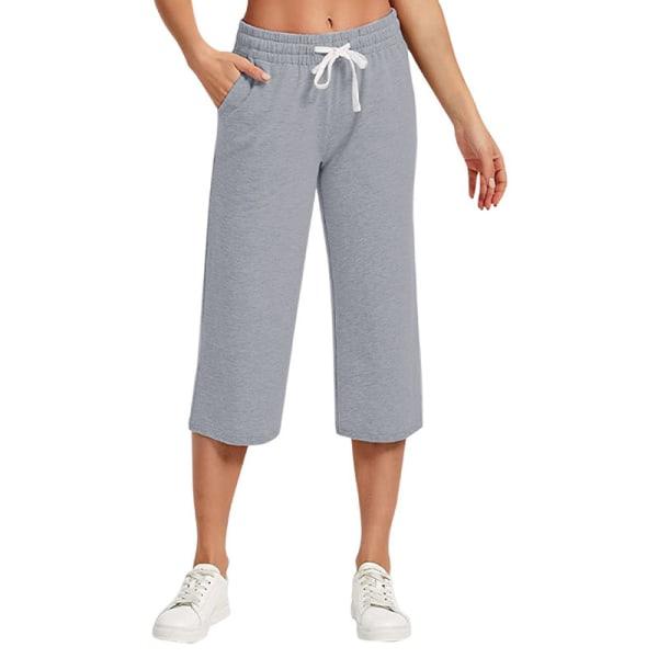 Kvinnor Mid Midja Yoga Byxor Casual Loose Sports Elastic Ljusgrå XL