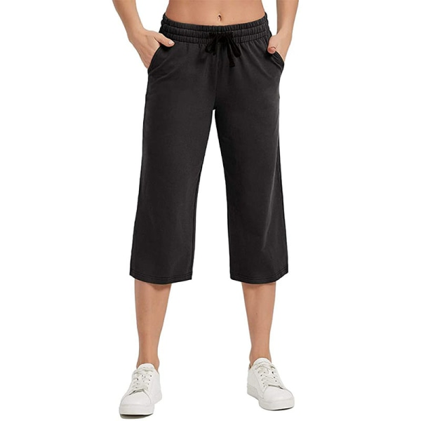 Kvinnor Mid Midja Yoga Byxor Casual Loose Sports Elastic Svart XL