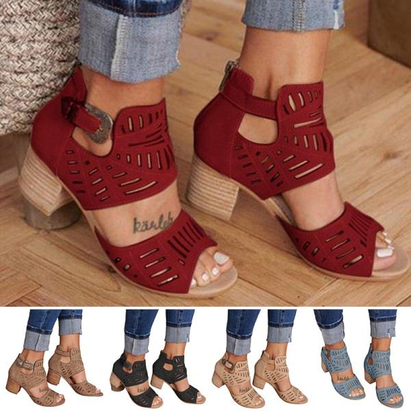 Kvinnors högklackade klackklackar Sandaler ihåliga öppna tå Röd 41