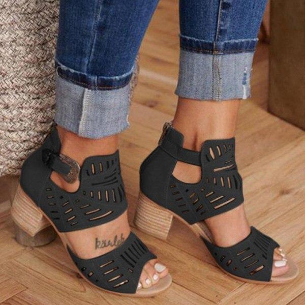 Kvinnors högklackade klackklackar Sandaler ihåliga öppna tå Svart 43