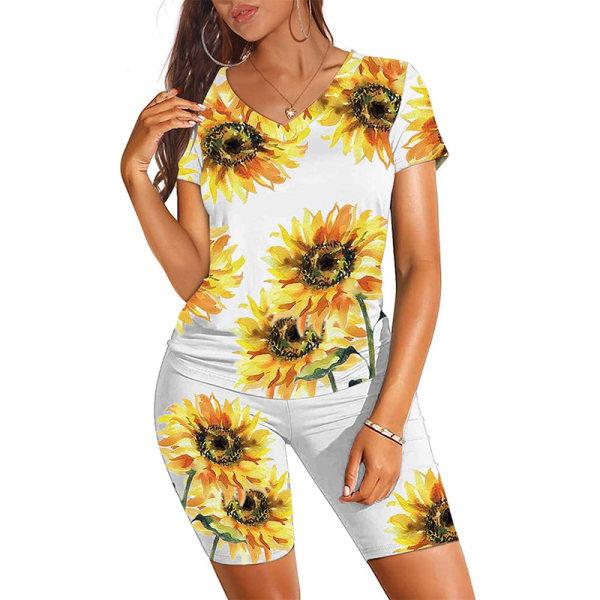 Kvinnors kortärmade toppar + shorts Fitness Loungewear Solros M