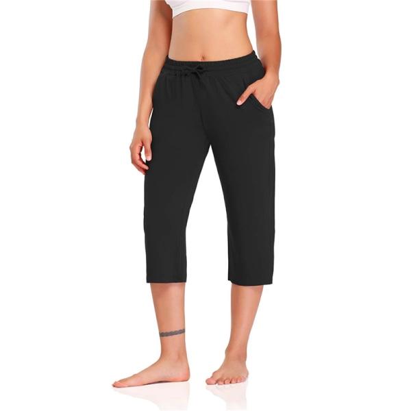 Womenwaist Baggy Pants Cropped Casual Yoga Sports Byxor Svart XL