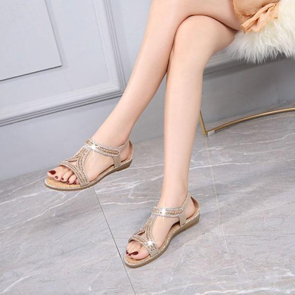 Ladies Flat Hollow Open Toe Sandals Bekväma och andningsbara gyllene 38