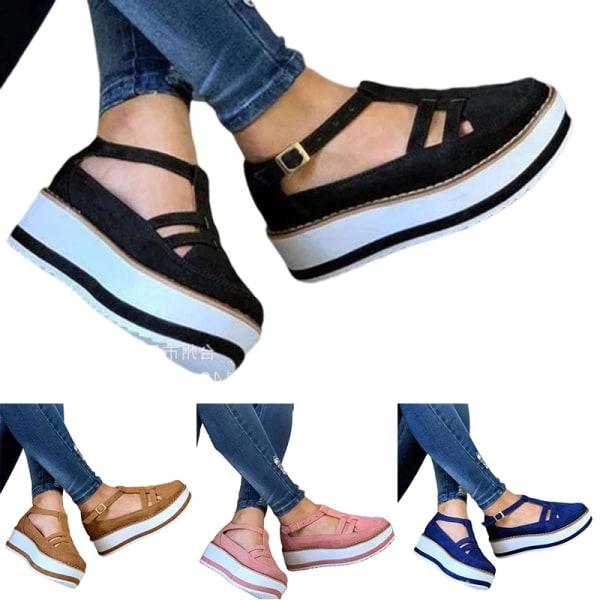 Kvinnors plattform sandaler sommar bekväm skumfotsula Svart 37