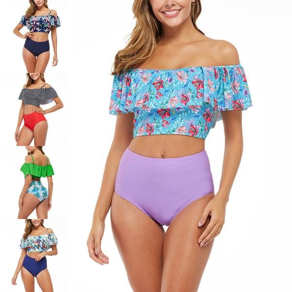 Kvinnors Push-Up Vadderad BH-Bikini Hög Midja Baddräkt badkläder Mörkblå L