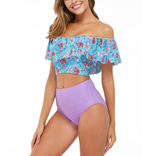 Kvinnors Push-Up Vadderad BH-Bikini Hög Midja Baddräkt badkläder Lila L