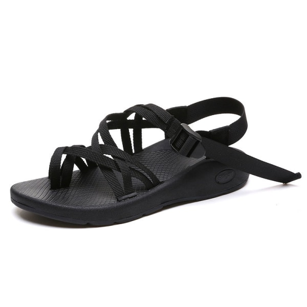Kvinnors rem sandaler mode öppna tå lätt casual skor Svart 42