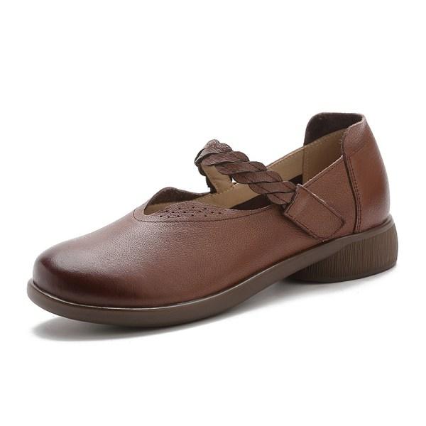 Kvinnors sandfärgade lädersandaler med höga klackar Brun 37