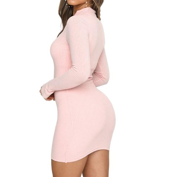 Kvinnors Sexiga Bodycon Klänningar Party Dragkedja Mini Klänning rosa XL