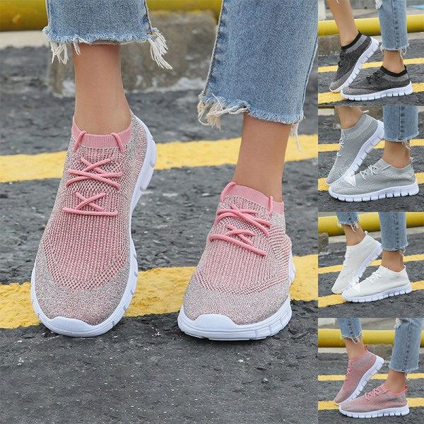 Kvinnors sneakers mesh avslappnade skor bekväma friska skor Rosa 43