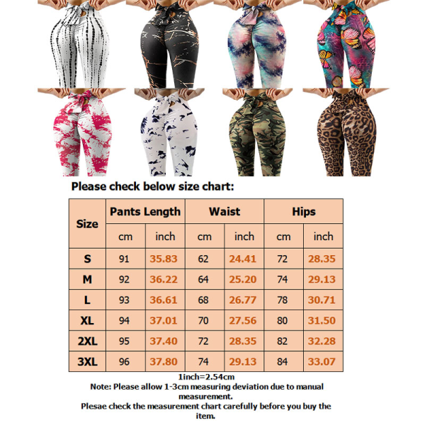 Kvinnors tryckta Yoga Leggingspants Hip Push Up Fitness Leopard M