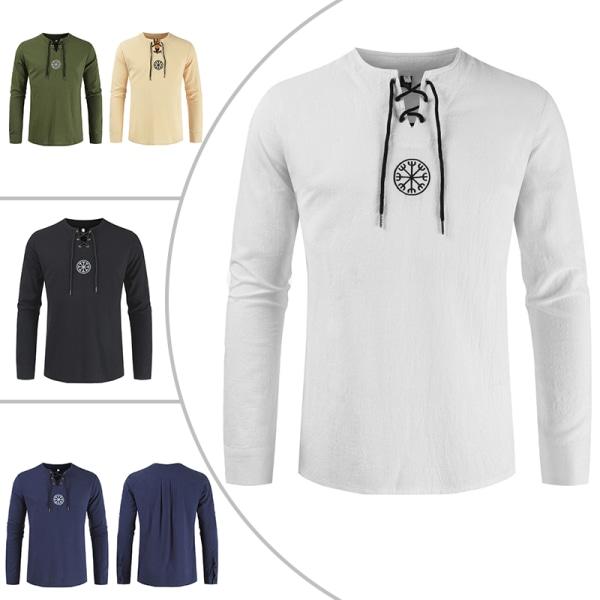 Män Långärmad T-Shirt I Bomull Och Linne Tillfällig Henryskjorta Vit M