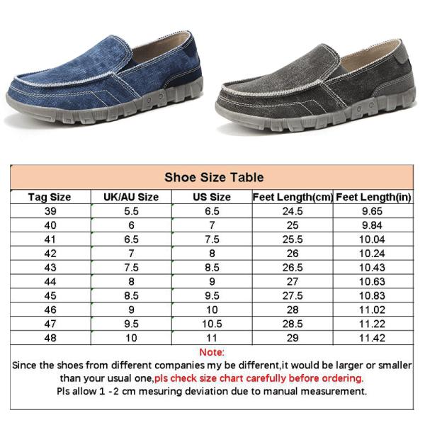 Mäns bekväma och andningsbara canvasskor lata skor Blå 44