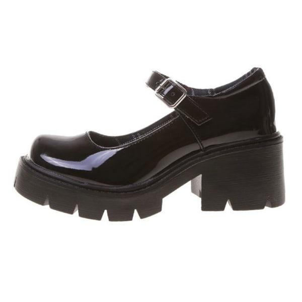 Mary Jane skolskor för kvinnor höjer läderskor Svart1 38