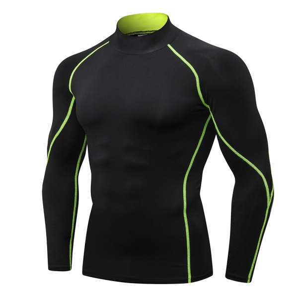 Mens Hög Krage T-shirt Långärmad Kompression Topp Sportkläder Black-Green M