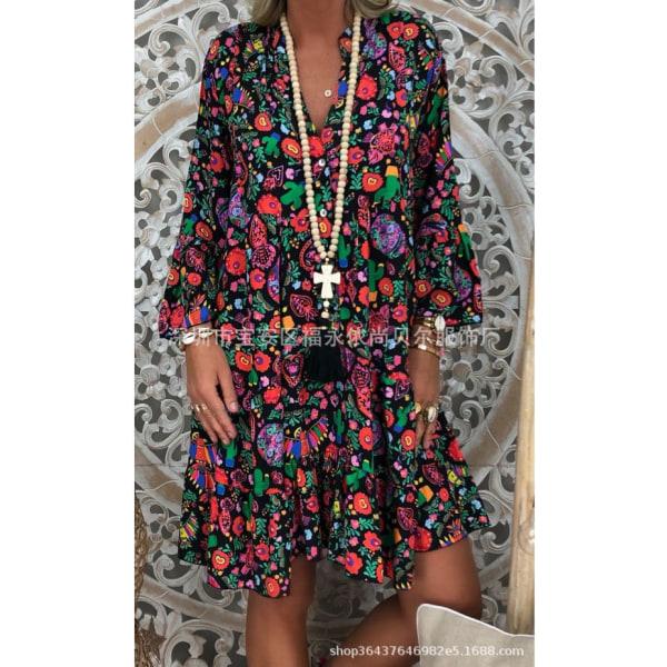 Plus Size Women Stand-Up Krage Button Ruffle Dress Beach Dress svart S