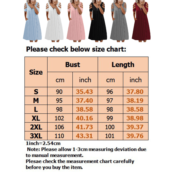 Plus Size Women Summer Cold Shoulder Midi Dress Swing Dress Vit M