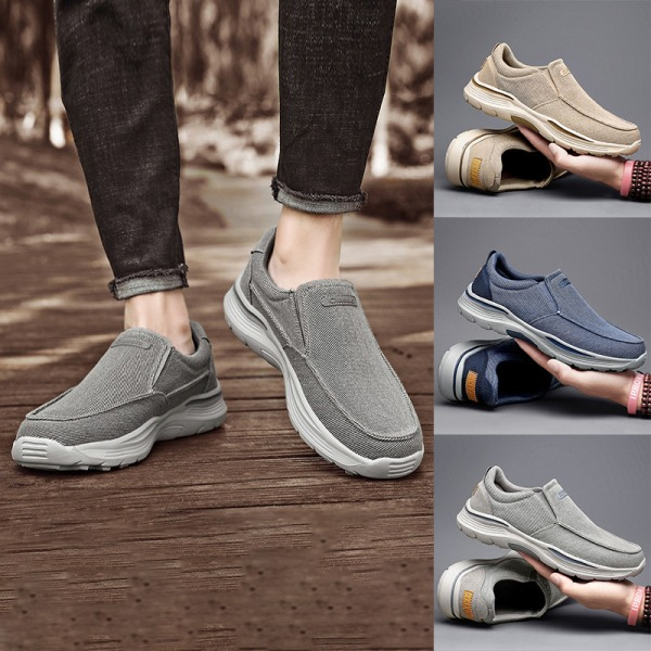 Pumps canvasskor för män fashionabla och bekväma loafers Blå 48