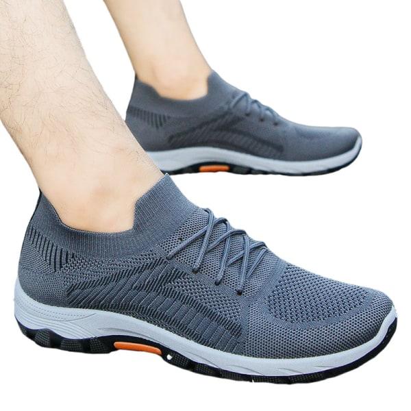 Slip-on-sneakers för män halkfria casualskor löparskor Grå 44