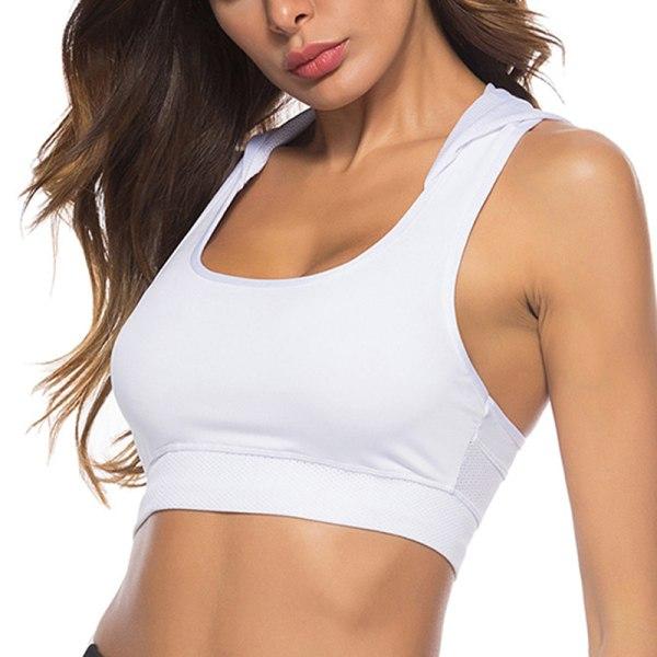 Sport-Yoga-Bh-Väst Med Huva För Kvinnor Ärmlös Vit M