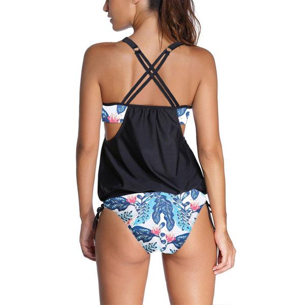 Sportig Baddräkt För Kvinnor Tankini Set Strandkläder Bikini Arktryck M
