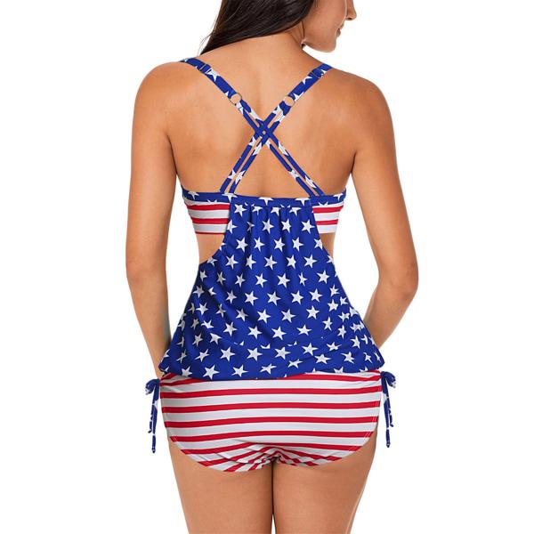 Sportig Baddräkt För Kvinnor Tankini Set Strandkläder Bikini National Flagga XXL