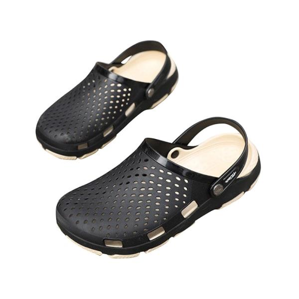 Tofflor för män avslappnade strandskor simning tofflor sandaler Svart 42