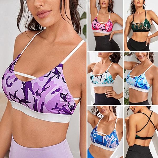 Dam vadderad bh-yogalöpningsträningsväst med stretch Violett 80A