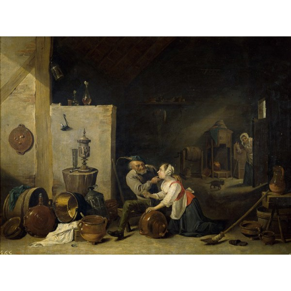 An Old Peasant Caresses a Kitchen Maid in,David Teniers,50x38cm Brun