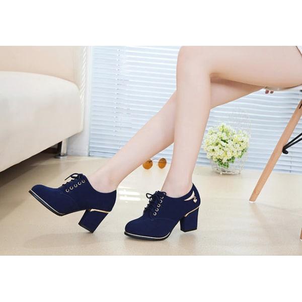 Blåa skor med klackarna Blue 38