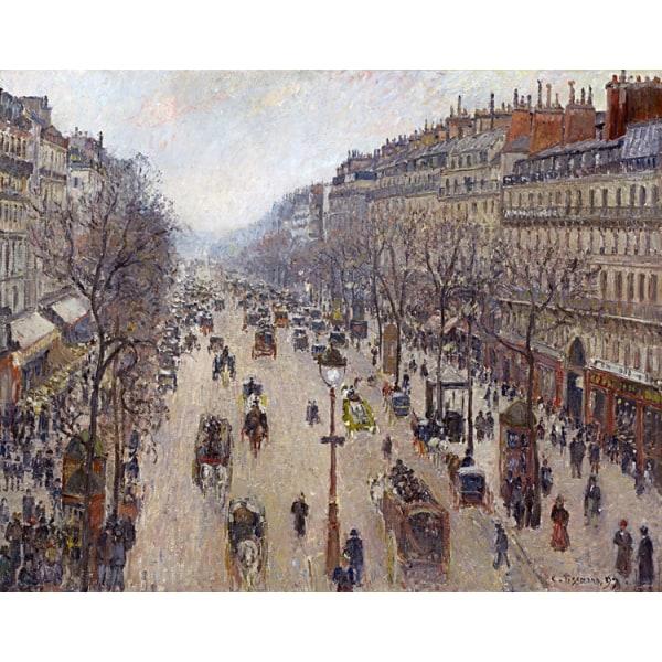 Boulevard Montmartre,morning cloudy,Camille Pissarro,50x40cm Brun