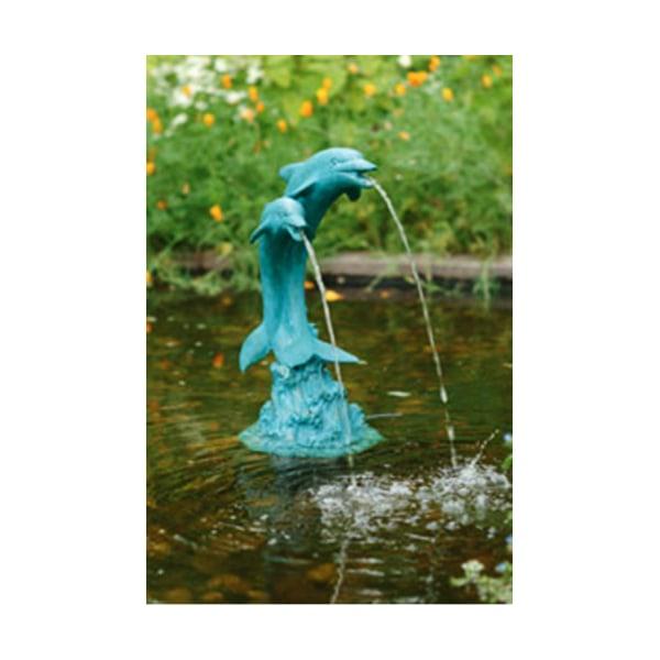 Delfiner, fontän för trädgården 27x23x51 cm Grön