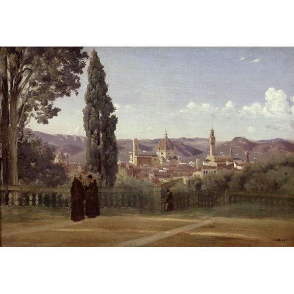 Florence Since the Gardens of Boboli,Corot Camille,60x40cm Brun
