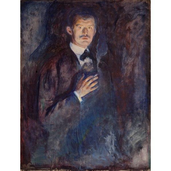 Holding a cigarette of Self-Portrait,Edvard Munch,50x38cm Brun