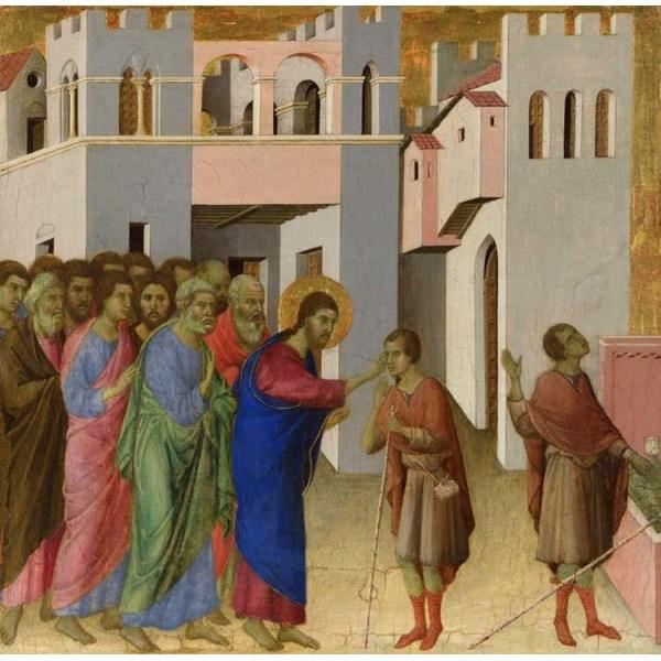 Jesus Opens the Eyes of a Man Born Blind,Duccio,43.5x45cm Brun