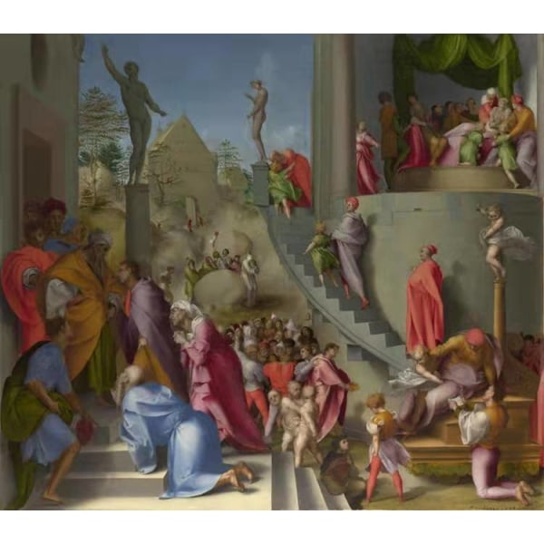 Joseph with Jacob in Egypt,Pontormo,50x44cm Brun
