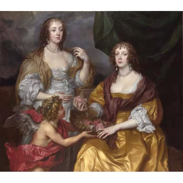 Lady Elizabeth Thimbelby and Dorothy,Anthony Van Dyck,50x44cm Brun