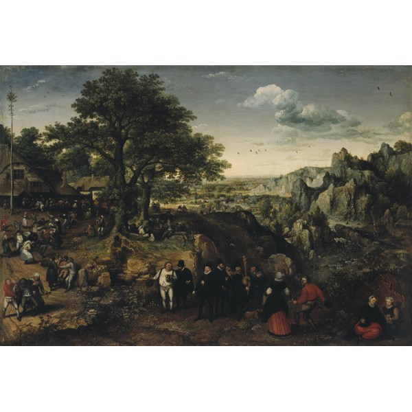 Landscape with Village Festival,Lucas van Valckenborch,60x40cm Brun