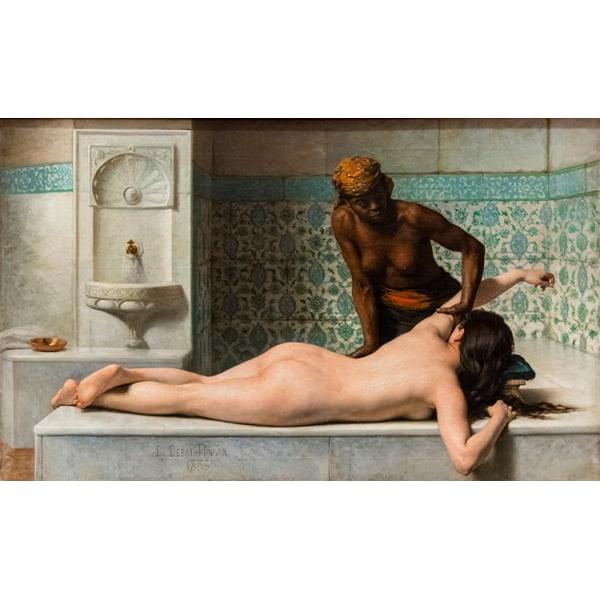 Le Massage scene de hammam,Edouard Debat Ponsan,60x40cm multifärg