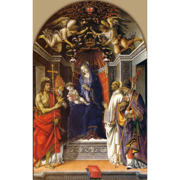 Madonna and Child Enthroned with SS,Filippino Lippi,60x40cm