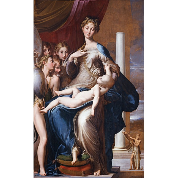 Madonna with the long neck,PARMIGIANINO,60x37cm Brun