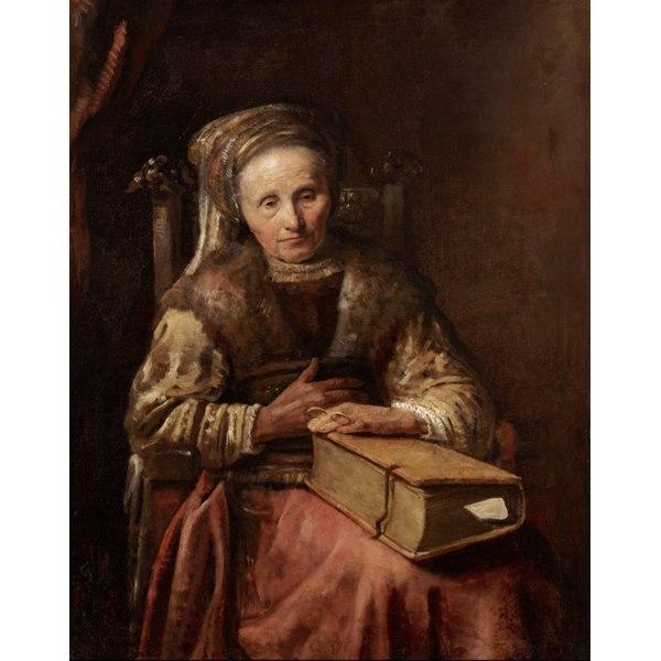 Old woman with a book,Carel Van der Pluym,50x40cm Brun