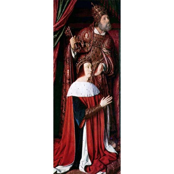 Pierre de Bourbon and his Patron,Master of Moulins,100x39cm