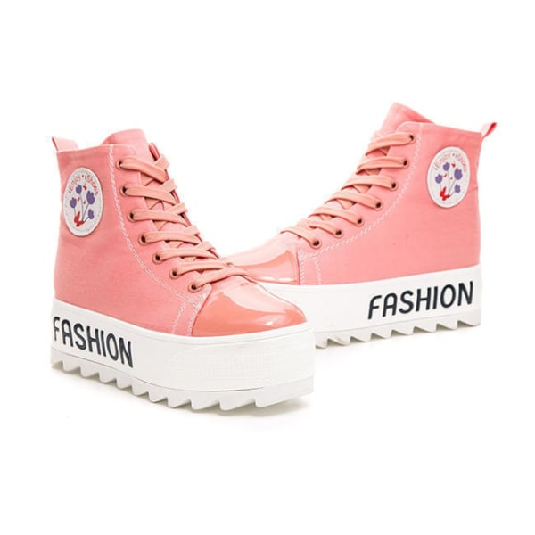 Rosa sneakers, 5 cm höga sulor Pink 36