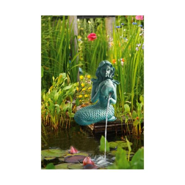 Sjöjungfrun, fontän för trädgården 29x26x53 cm Grön