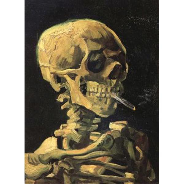 Skull with Burning Cigarette,Vincent Van Gogh,32x24.5cm multifärg