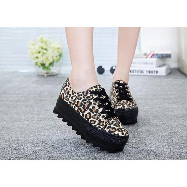 Sneakers i leopard mönster med 5 cm höga sulor Svart 39