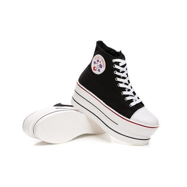 Svarta sneaker med 7 cm höga sulor Black 38